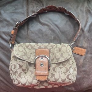 Coach Soho Signature Monogram Flap Brown Bag